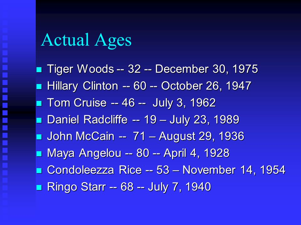 Actual Ages n Tiger Woods -- 32 -- December 30, 1975 n Hillary Clinton -- 60 -- October 26, 1947 n Tom Cruise -- 46 -- July 3, 1962 n Daniel Radcliffe -- 19 – July 23, 1989 n John McCain -- 71 – August 29, 1936 n Maya Angelou -- 80 -- April 4, 1928 n Condoleezza Rice -- 53 – November 14, 1954 n Ringo Starr -- 68 -- July 7, 1940
