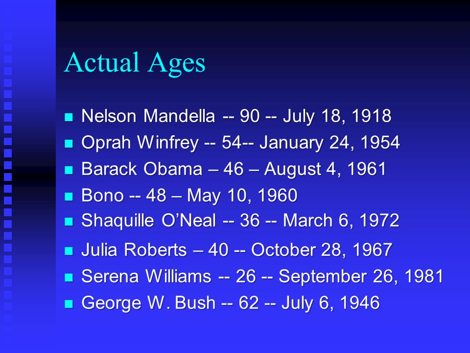Actual Ages n Nelson Mandella -- 90 -- July 18, 1918 n Oprah Winfrey -- 54-- January 24, 1954 n Barack Obama – 46 – August 4, 1961 n Bono -- 48 – May 10, 1960 n Shaquille O'Neal -- 36 -- March 6, 1972 n Julia Roberts – 40 -- October 28, 1967 n Serena Williams -- 26 -- September 26, 1981 n George W.