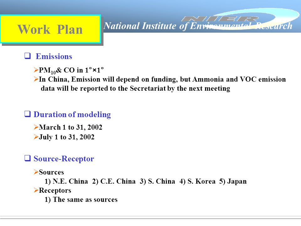 National Institute of Environmental Research   Emissions  Duration of modeling   Source-Receptor Work Plan  PM 10 & CO in 1°×1°  In China, Emission will depend on funding, but Ammonia and VOC emission data will be reported to the Secretariat by the next meeting  March 1 to 31, 2002  July 1 to 31, 2002  Sources 1) N.E.