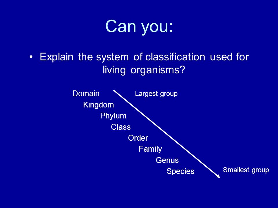 Can you: Explain the system of classification used for living organisms.