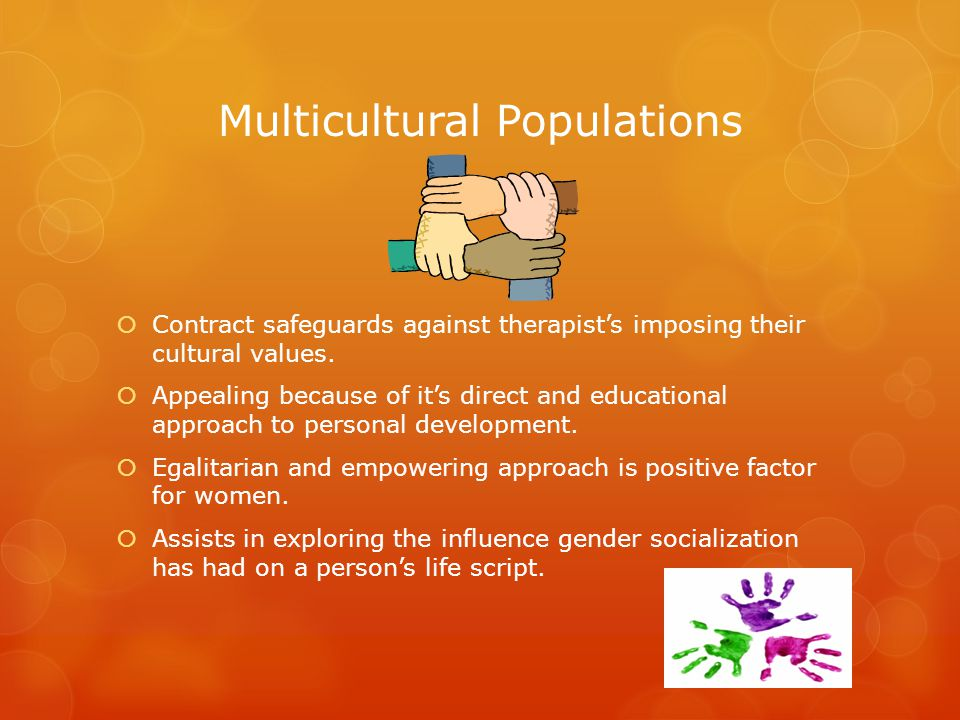 Multicultural Populations  Contract safeguards against therapist's imposing their cultural values.