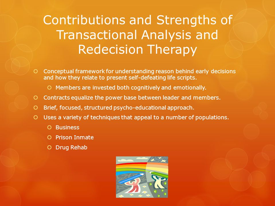 Contributions and Strengths of Transactional Analysis and Redecision Therapy  Conceptual framework for understanding reason behind early decisions and how they relate to present self-defeating life scripts.
