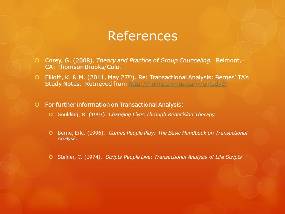 References  Corey, G. (2008). Theory and Practice of Group Counseling.
