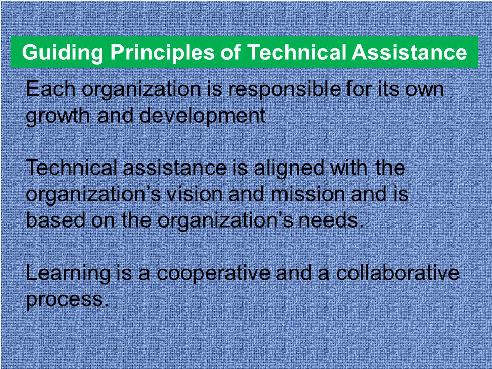 Guiding Principles of Technical Assistance Each organization is responsible for its own growth and development Technical assistance is aligned with the organization's vision and mission and is based on the organization's needs.