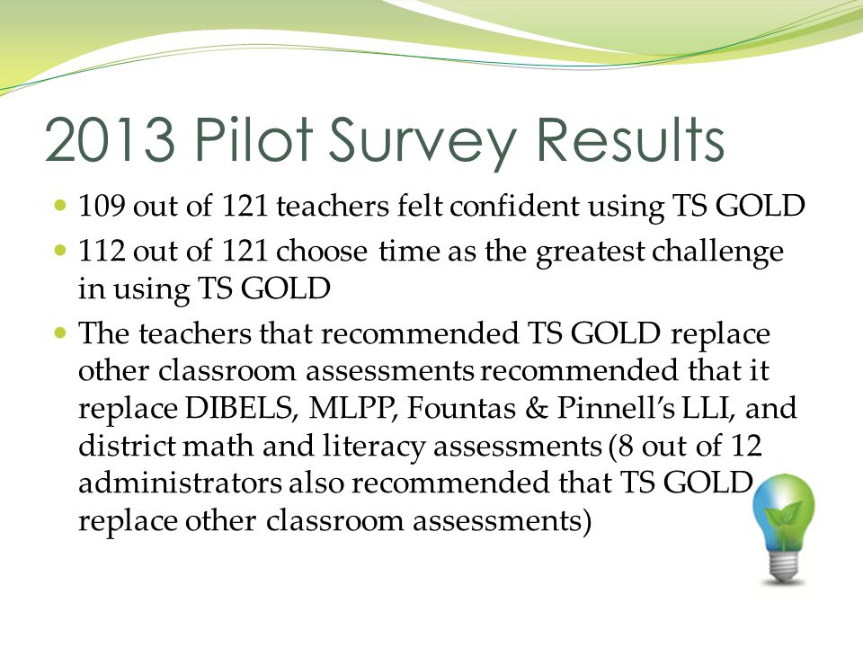 109 out of 121 teachers felt confident using TS GOLD 112 out of 121 choose time as the greatest challenge in using TS GOLD The teachers that recommended TS GOLD replace other classroom assessments recommended that it replace DIBELS, MLPP, Fountas & Pinnell's LLI, and district math and literacy assessments (8 out of 12 administrators also recommended that TS GOLD replace other classroom assessments) 2013 Pilot Survey Results