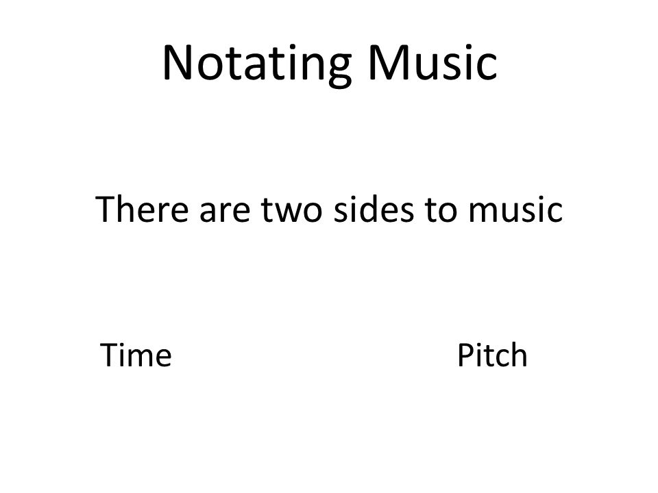 Notes and Time Notes are time symbols They indicate how long a note should be held They do not indicate what the pitch is
