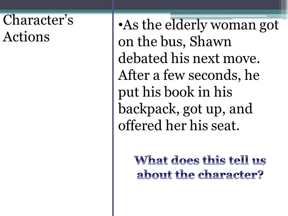 Character's Actions As the elderly woman got on the bus, Shawn debated his next move.