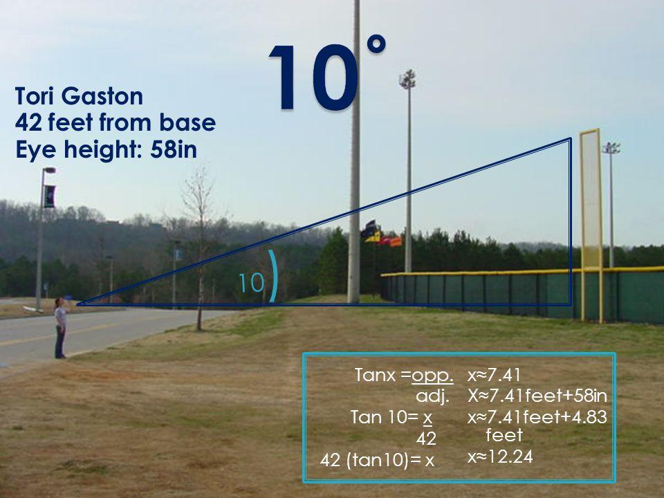 Tori Gaston 42 feet from base Eye height: 58in Tanx =opp.