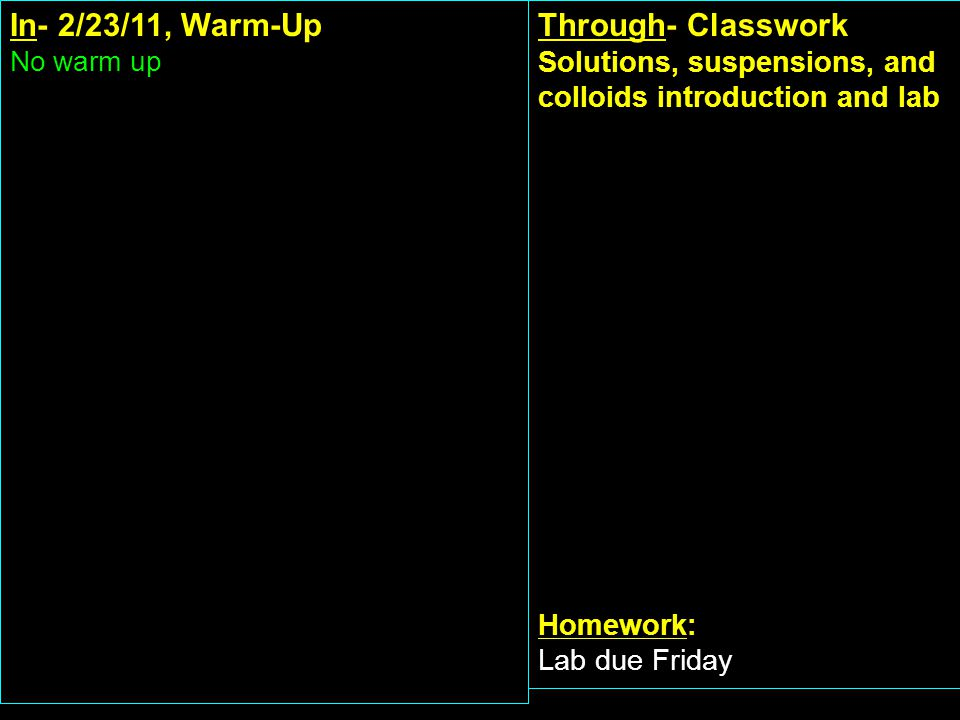 In- 2/23/11, Warm-Up No warm up Through- Classwork Solutions, suspensions, and colloids introduction and lab Homework: Lab due Friday