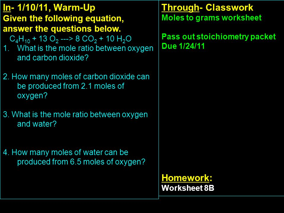 In- 3/24/11, Warm-Up Explain how to do a titration calculation based on the lab you did yesterday.