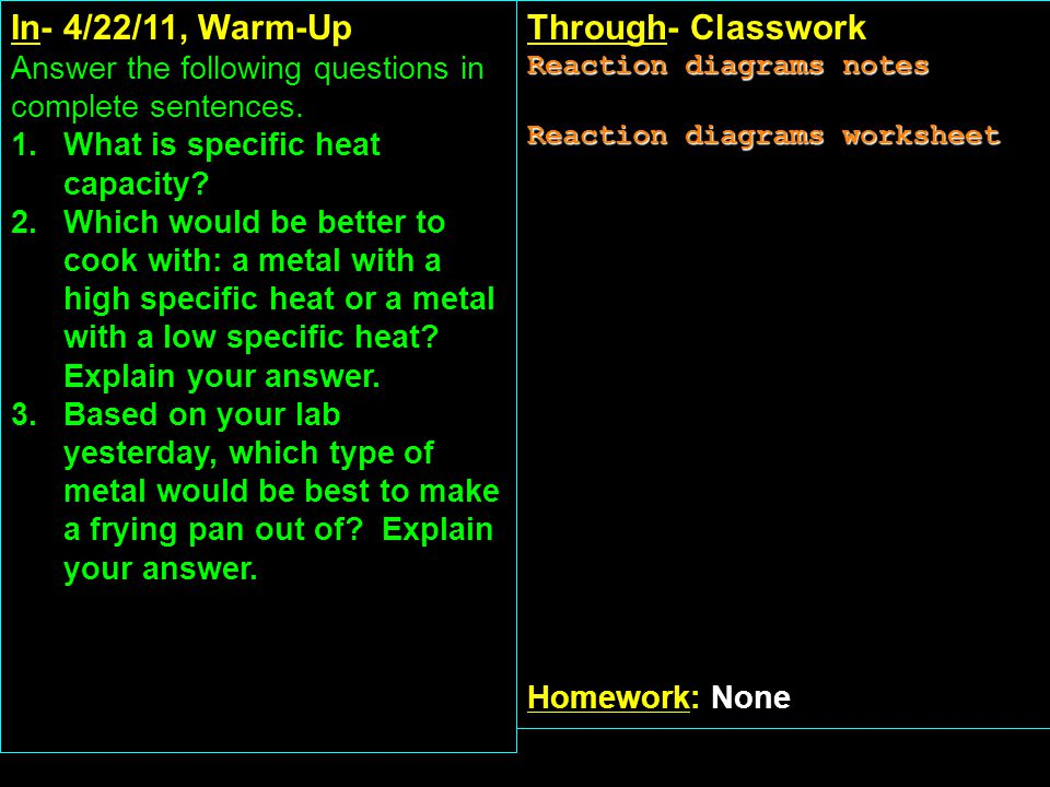 In- 4/22/11, Warm-Up Answer the following questions in complete sentences.