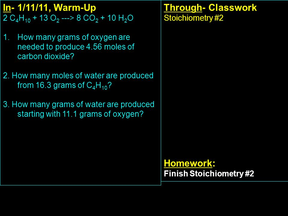 In- 2/8/11, Warm-Up CSAP review Through- Classwork Gas laws review packet Homework: Test next Tuesday