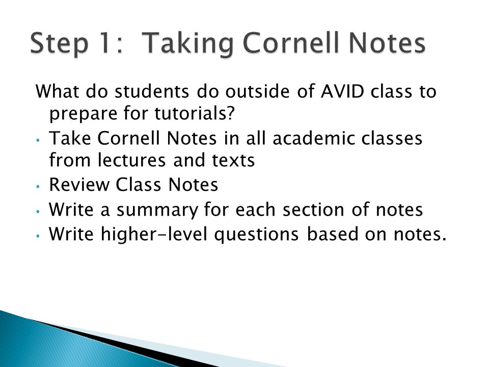 What do students do outside of AVID class to prepare for tutorials.