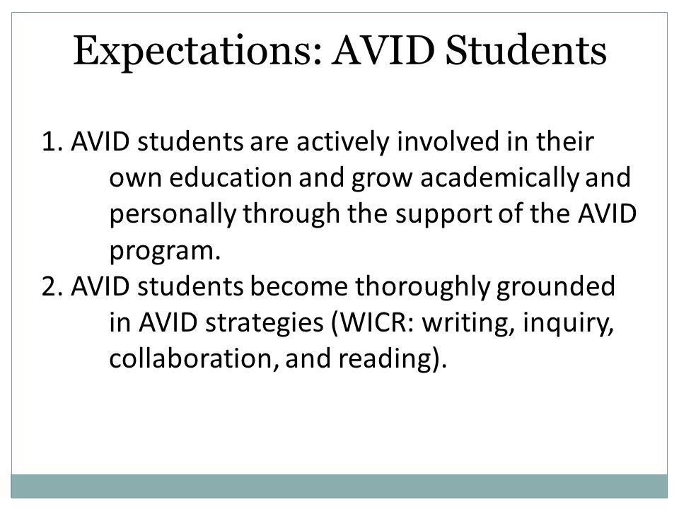 Expectations: AVID Students 1.