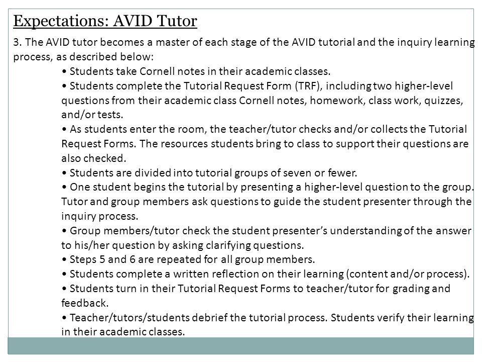 Expectations: AVID Tutor 3.