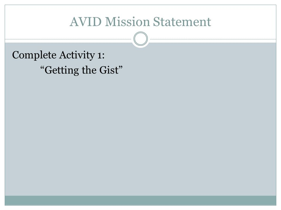 Complete Activity 1: Getting the Gist