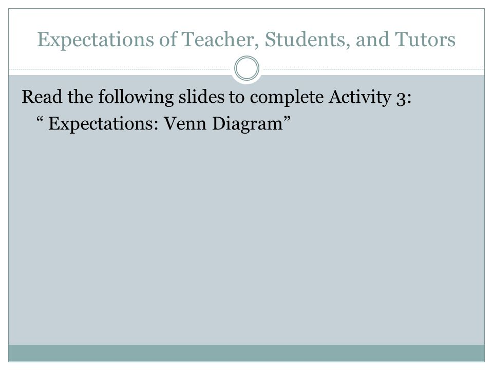 Expectations of Teacher, Students, and Tutors Read the following slides to complete Activity 3: Expectations: Venn Diagram