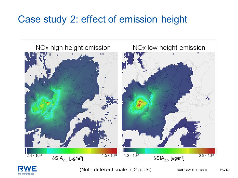 RWE Power InternationalPAGE 9 Influence of emission height on damage cost Same annual mass emission in all cases