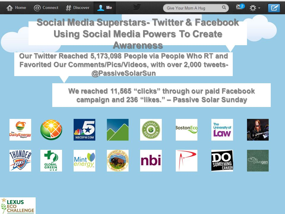 7 Social Media Superstars- Twitter & Facebook Using Social Media Powers To Create Awareness Our Twitter Reached 5,173,098 People via People Who RT and Favorited Our Comments/Pics/Videos, with over 2,000 tweets- @PassiveSolarSun We reached 11,565 clicks through our paid Facebook campaign and 236 likes. – Passive Solar Sunday