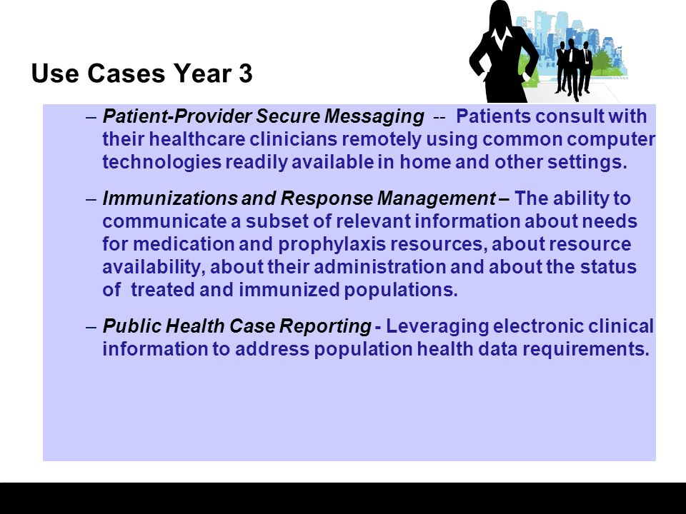 4 Use Cases Year 3 –Patient-Provider Secure Messaging -- Patients consult with their healthcare clinicians remotely using common computer technologies
