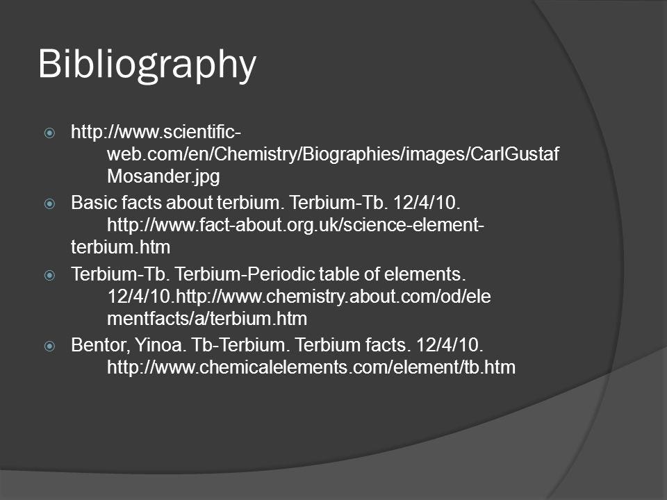 Bibliography  http://www.scientific- web.com/en/Chemistry/Biographies/images/CarlGustaf Mosander.jpg  Basic facts about terbium. Terbium-Tb. 12/4/10