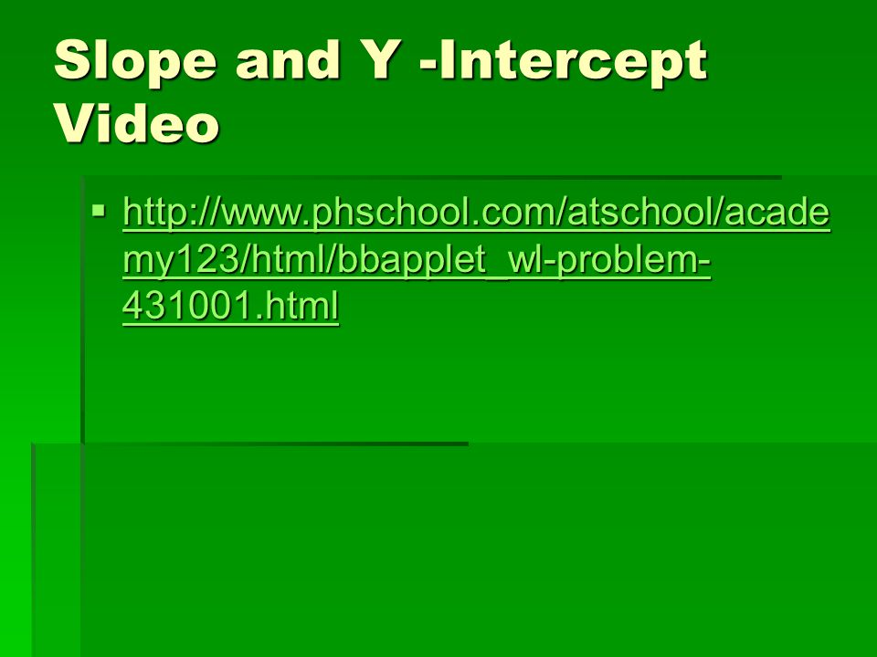 Slope and Y -Intercept Video  http://www.phschool.com/atschool/acade my123/html/bbapplet_wl-problem- 431001.html http://www.phschool.com/atschool/acade my123/html/bbapplet_wl-problem- 431001.html http://www.phschool.com/atschool/acade my123/html/bbapplet_wl-problem- 431001.html