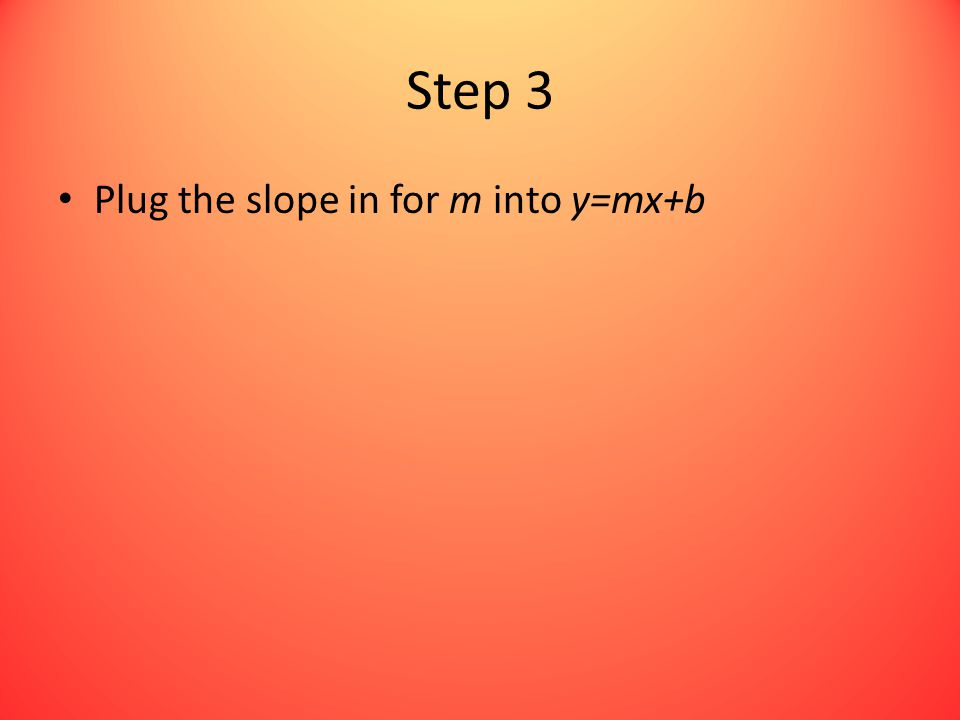 Step 3 Plug the slope in for m into y=mx+b