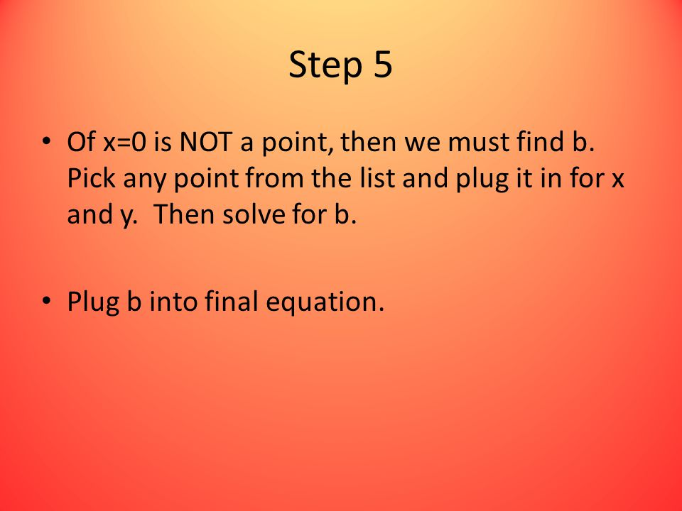 Step 5 Of x=0 is NOT a point, then we must find b.