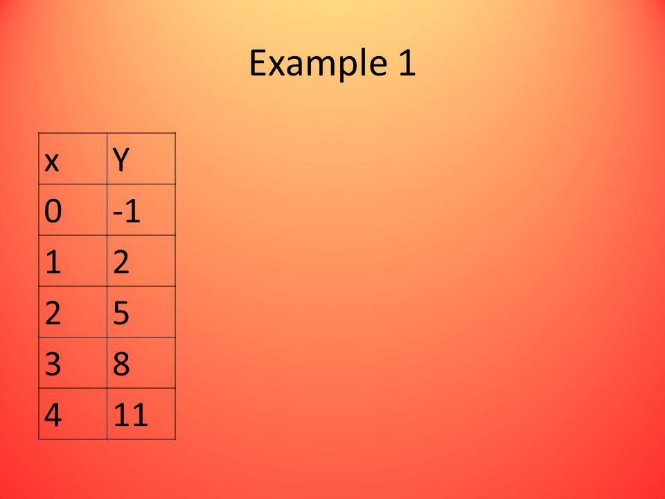 Example 1 xY 0 12 25 38 411