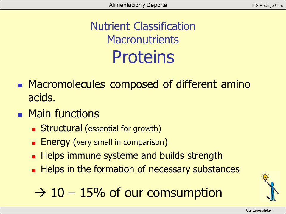 Alimentación y Deporte IES Rodrigo Caro Ute Eigenstetter Nutrient Classification Macronutrients Proteins Macromolecules composed of different amino acids.