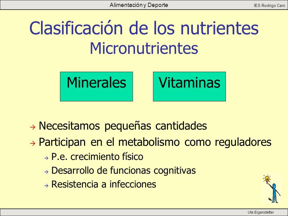 Alimentación y Deporte IES Rodrigo Caro Ute Eigenstetter Clasificación de los nutrientes Micronutrientes Minerales Vitaminas  Necesitamos pequeñas cantidades  Participan en el metabolismo como reguladores  P.e.