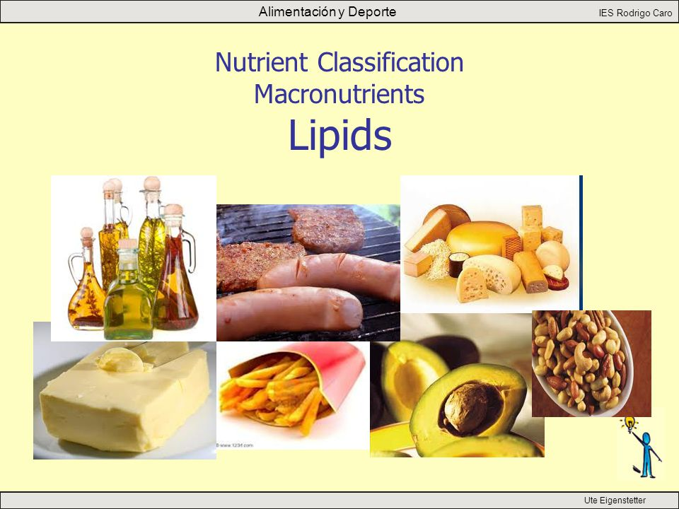 Alimentación y Deporte IES Rodrigo Caro Ute Eigenstetter Nutrient Classification Macronutrients Lipids