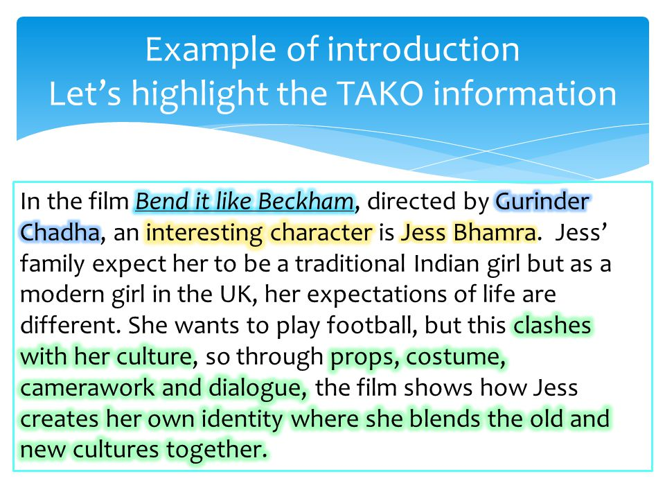 Example of introduction Let's highlight the TAKO information