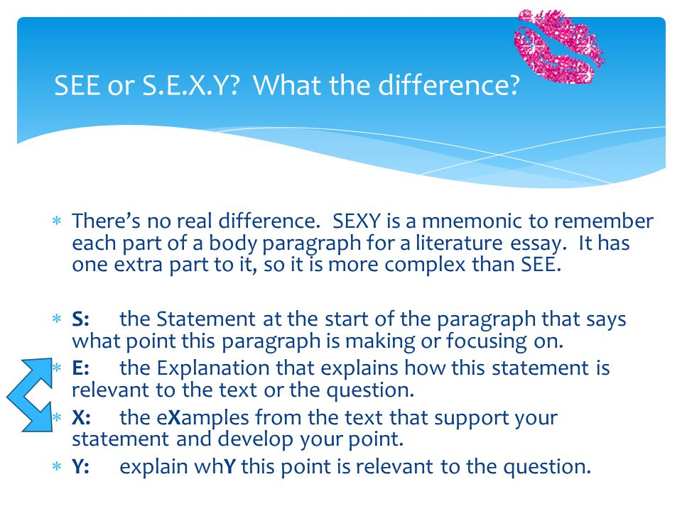 Body Paragraph structure – the possibilities … SEE or SEXY