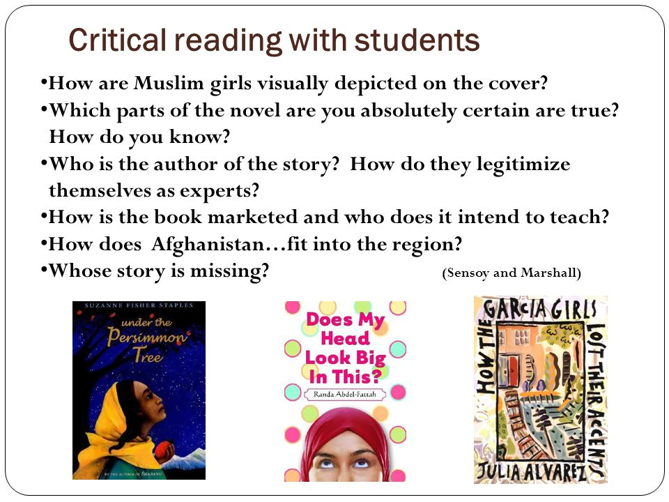 Critical reading with students How are Muslim girls visually depicted on the cover.