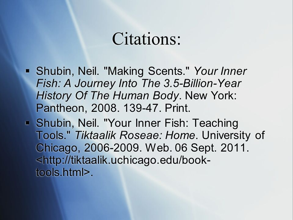 Citations:  Shubin, Neil.