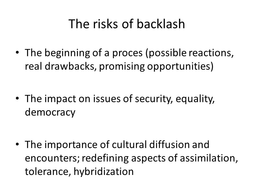 The risks of backlash The beginning of a proces (possible reactions, real drawbacks, promising opportunities) The impact on issues of security, equality, democracy The importance of cultural diffusion and encounters; redefining aspects of assimilation, tolerance, hybridization