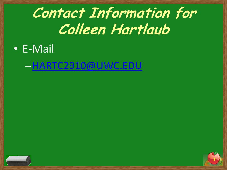 Contact Information for Colleen Hartlaub  –  5