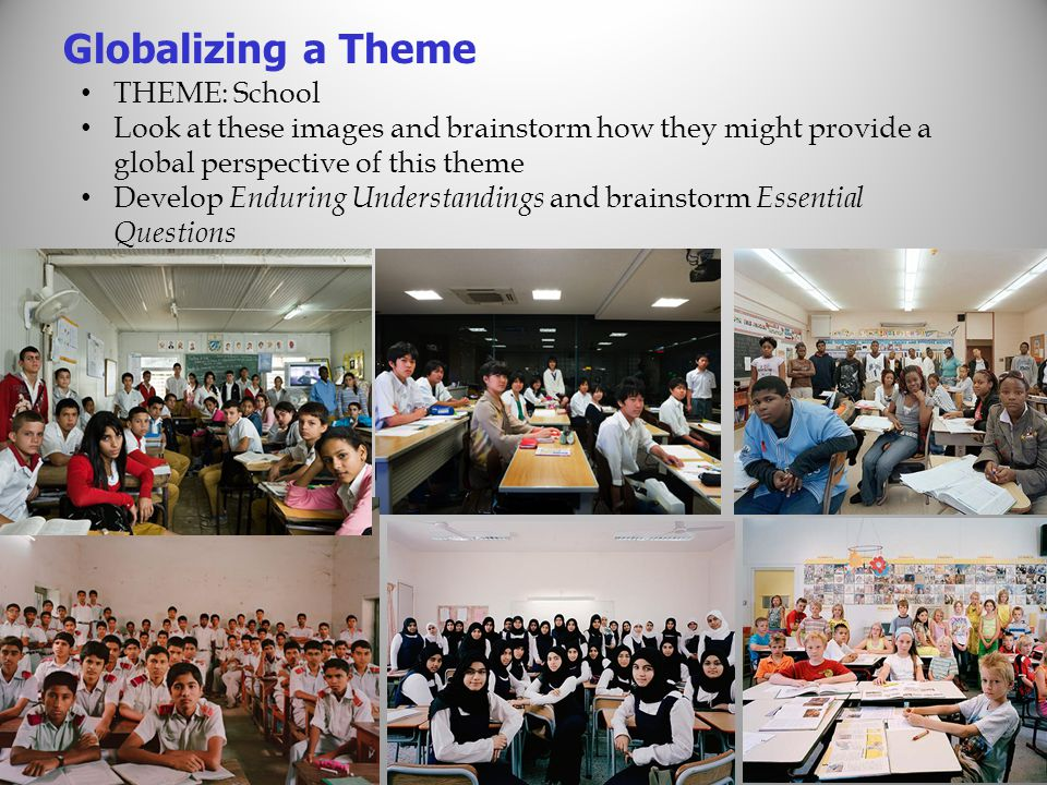 THEME: School Look at these images and brainstorm how they might provide a global perspective of this theme Develop Enduring Understandings and brainstorm Essential Questions Globalizing a Theme