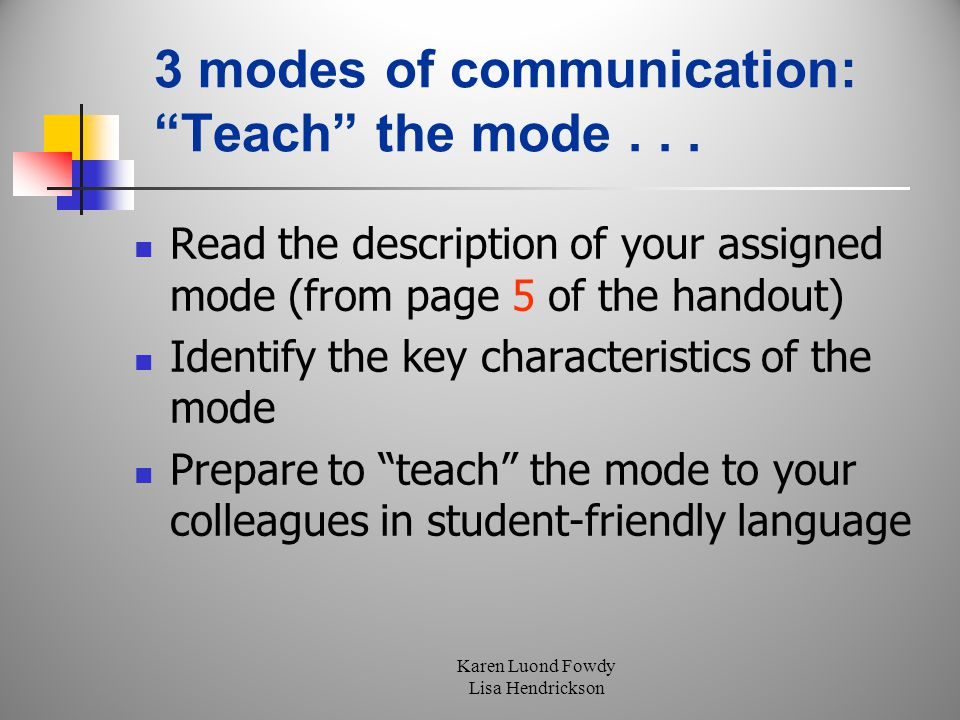 Karen Luond Fowdy Lisa Hendrickson 3 modes of communication: Teach the mode...