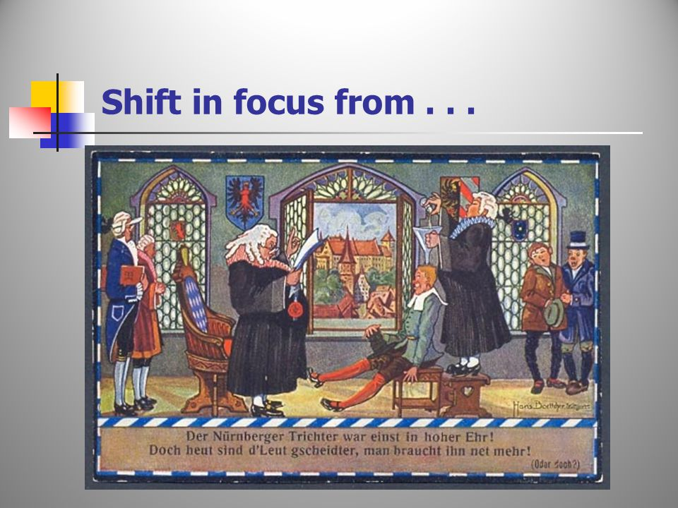 Shift in focus from...
