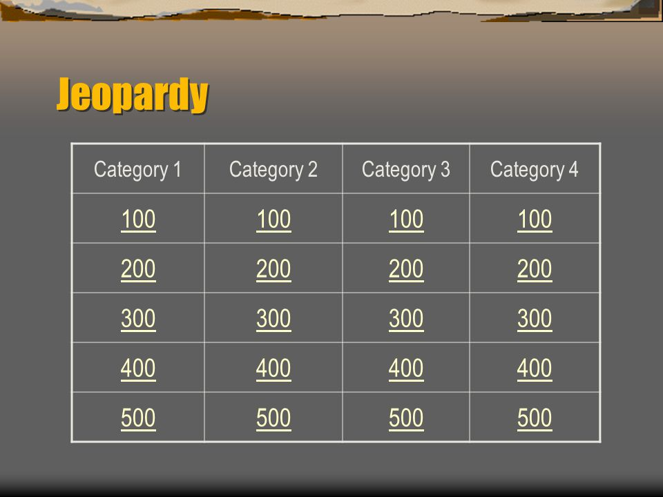 Jeopardy Template By Carl Lyman © July 2007