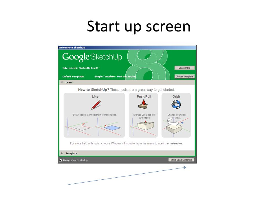 Start up screen