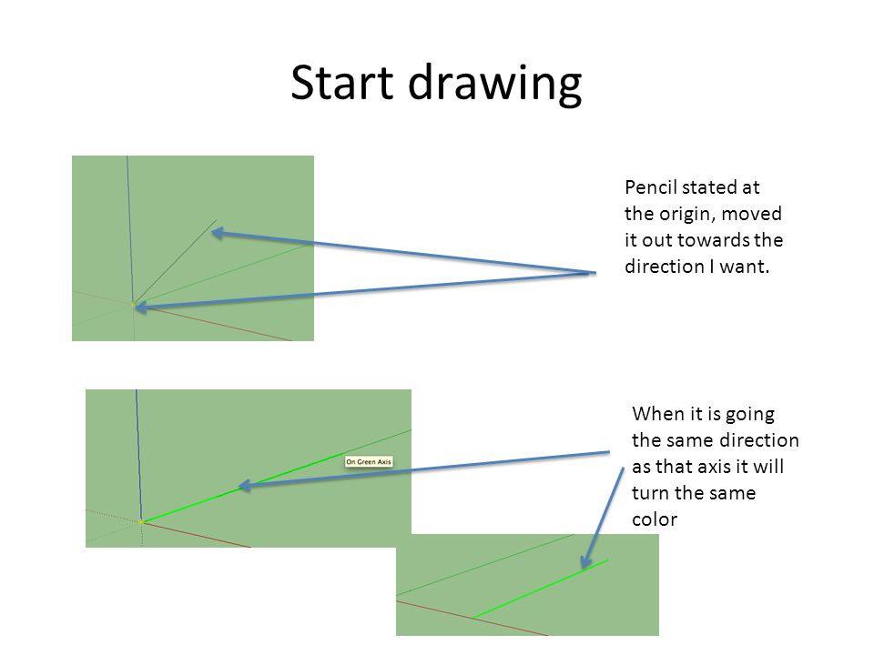 Start drawing Pencil stated at the origin, moved it out towards the direction I want.
