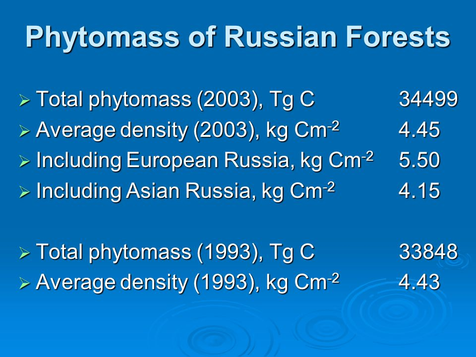 Phytomass of Russian Forests  Total phytomass (2003), Tg C34499  Average density (2003), kg Cm -2 4.45  Including European Russia, kg Cm -2 5.50  Including Asian Russia, kg Cm -2 4.15  Total phytomass (1993), Tg C33848  Average density (1993), kg Cm -2 4.43