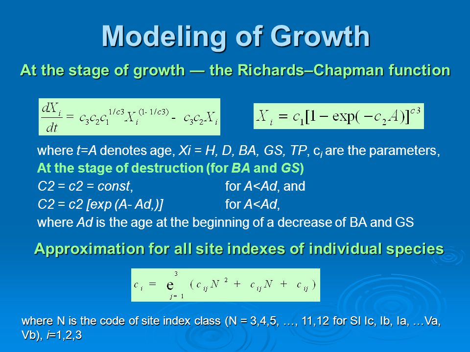 Modeling of Growth At the stage of growth ― the Richards–Chapman function where t=A denotes age, Xi = H, D, BA, GS, TP, c i are the parameters, At the stage of destruction (for BA and GS) C2 = c2 = const,for A<Ad, and C2 = c2 [exp (A- Ad,)]for A<Ad, where Ad is the age at the beginning of a decrease of BA and GS Approximation for all site indexes of individual species where N is the code of site index class (N = 3,4,5, …, 11,12 for SI Ic, Ib, Ia, …Va, Vb), i=1,2,3