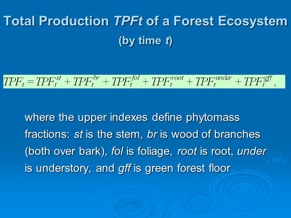 Total Production TPFt of a Forest Ecosystem (by time t) where the upper indexes define phytomass fractions: st is the stem, br is wood of branches (both over bark), fol is foliage, root is root, under is understory, and gff is green forest floor
