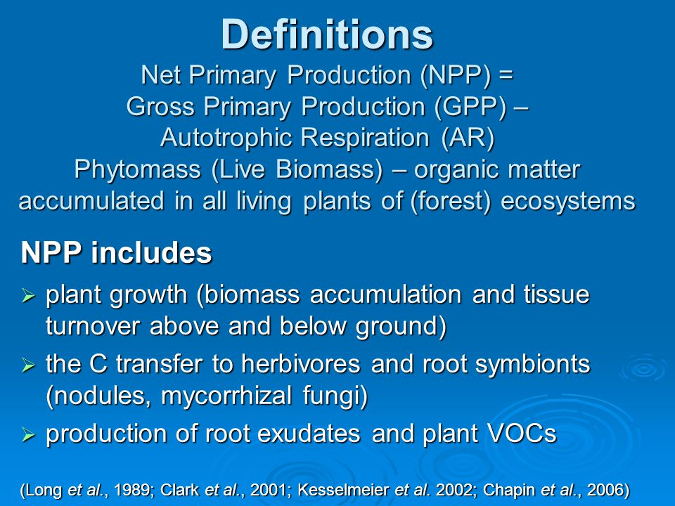 Definitions Net Primary Production (NPP) = Gross Primary Production (GPP) – Autotrophic Respiration (AR) Phytomass (Live Biomass) – organic matter acc