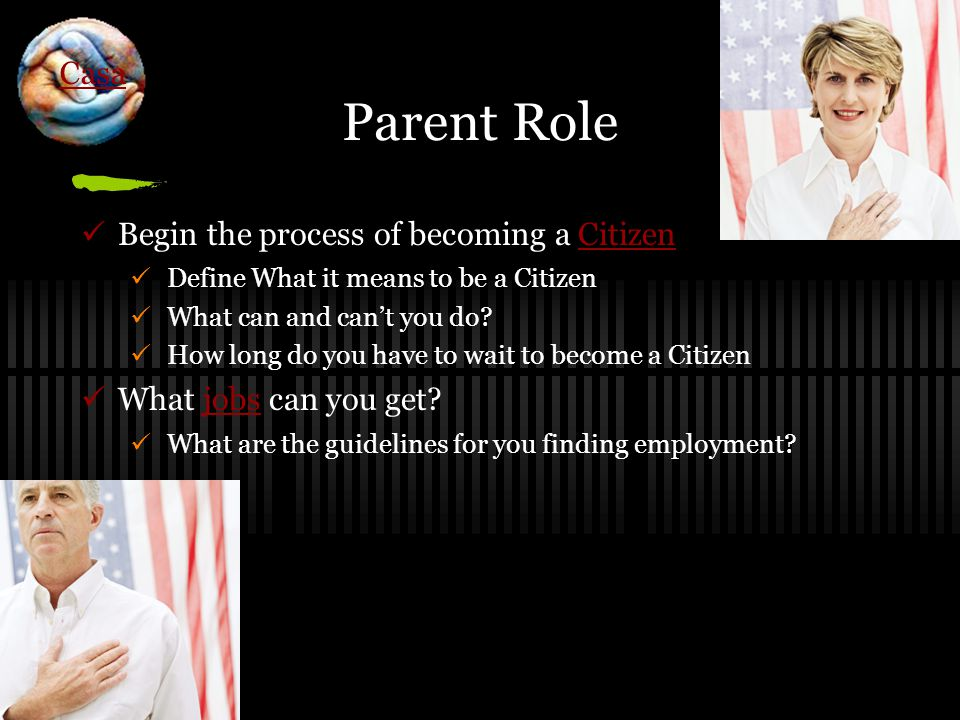 Parent Role Begin the process of becoming a CitizenCitizen Define What it means to be a Citizen What can and can't you do.