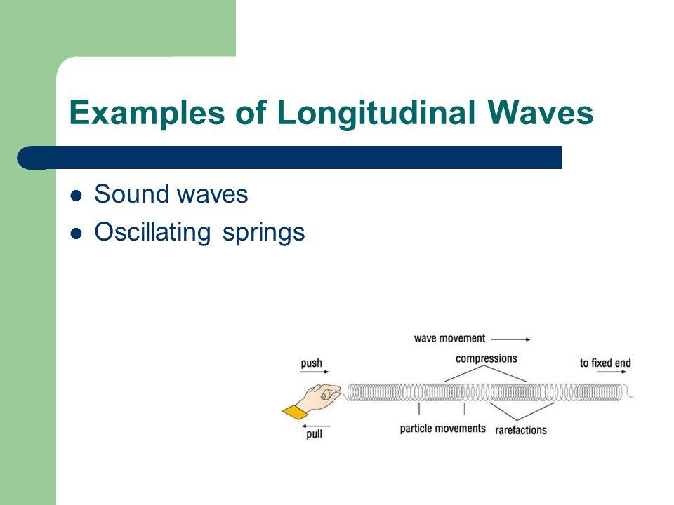 Examples of Longitudinal Waves Sound waves Oscillating springs